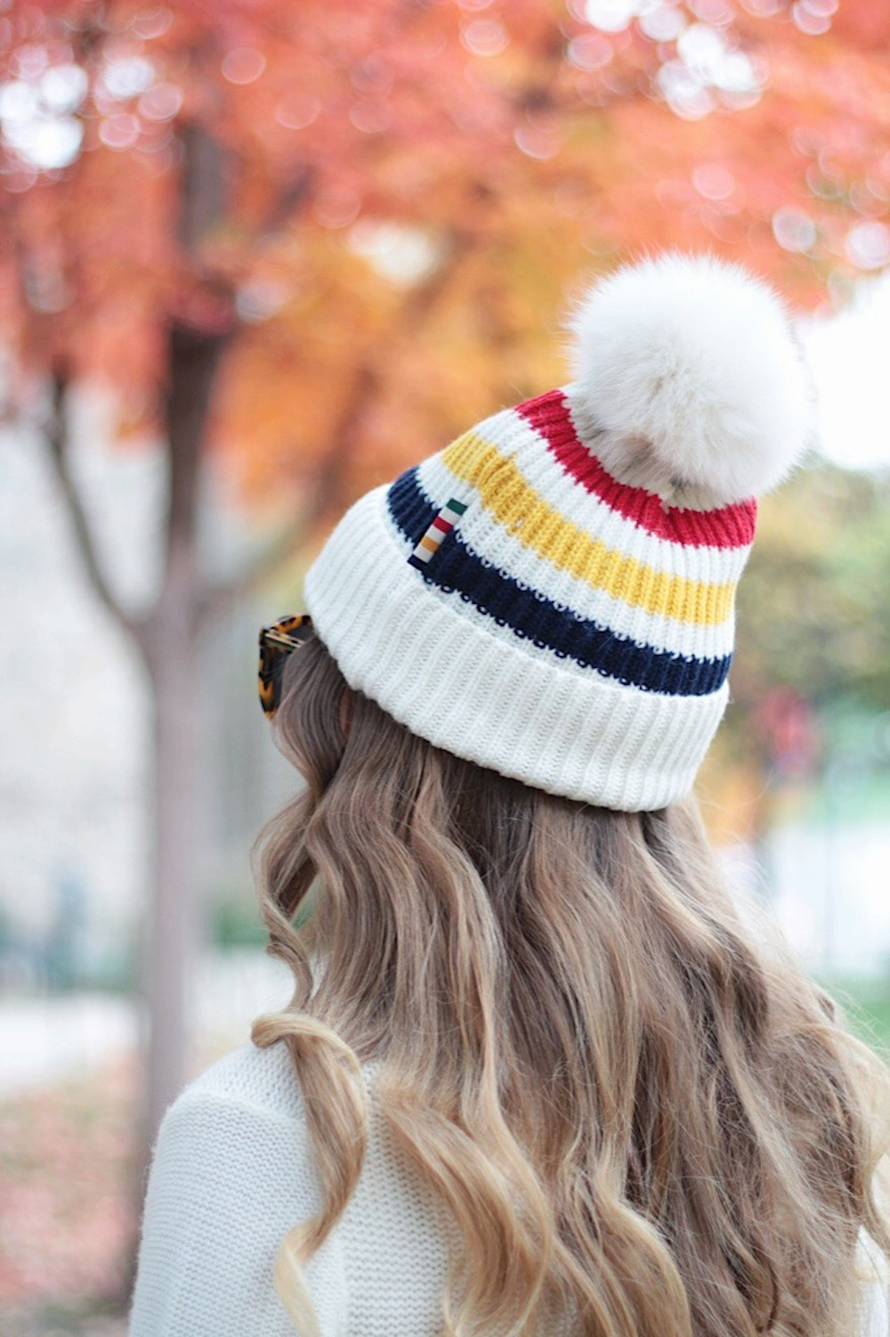hudsons bay stripe pom pom beanie rachel puccetti between two coasts