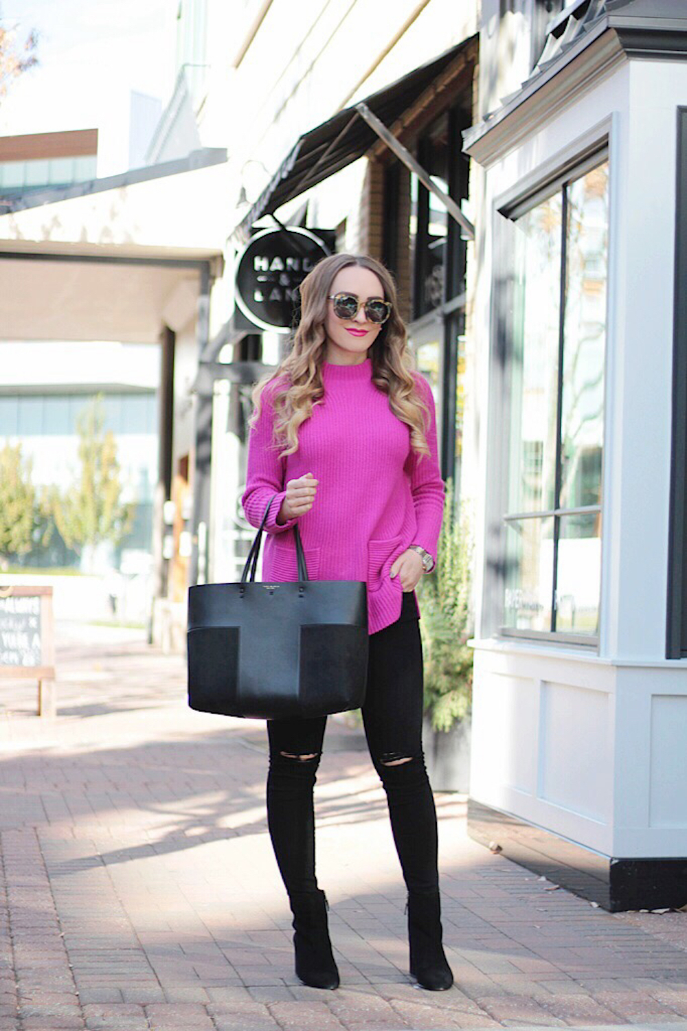 nordstrom pink sweater fashion blogger rachel puccetti