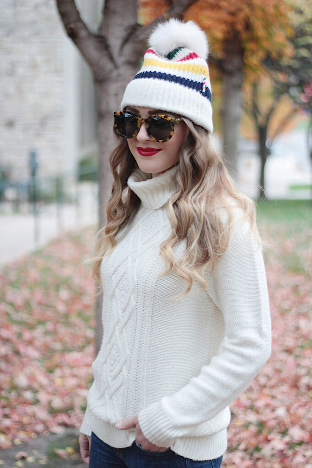 pom pom beanie fall style rachel puccetti between two coasts
