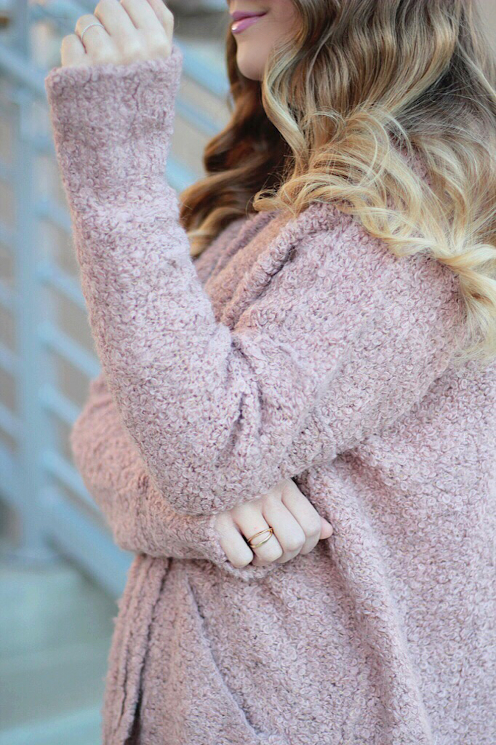 textured pink sweater rachel puccetti between two coasts