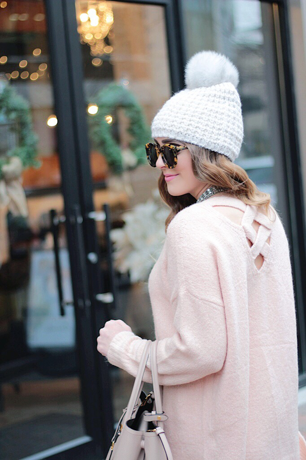 blush pink cross back sweater nordstrom rachel puccetti