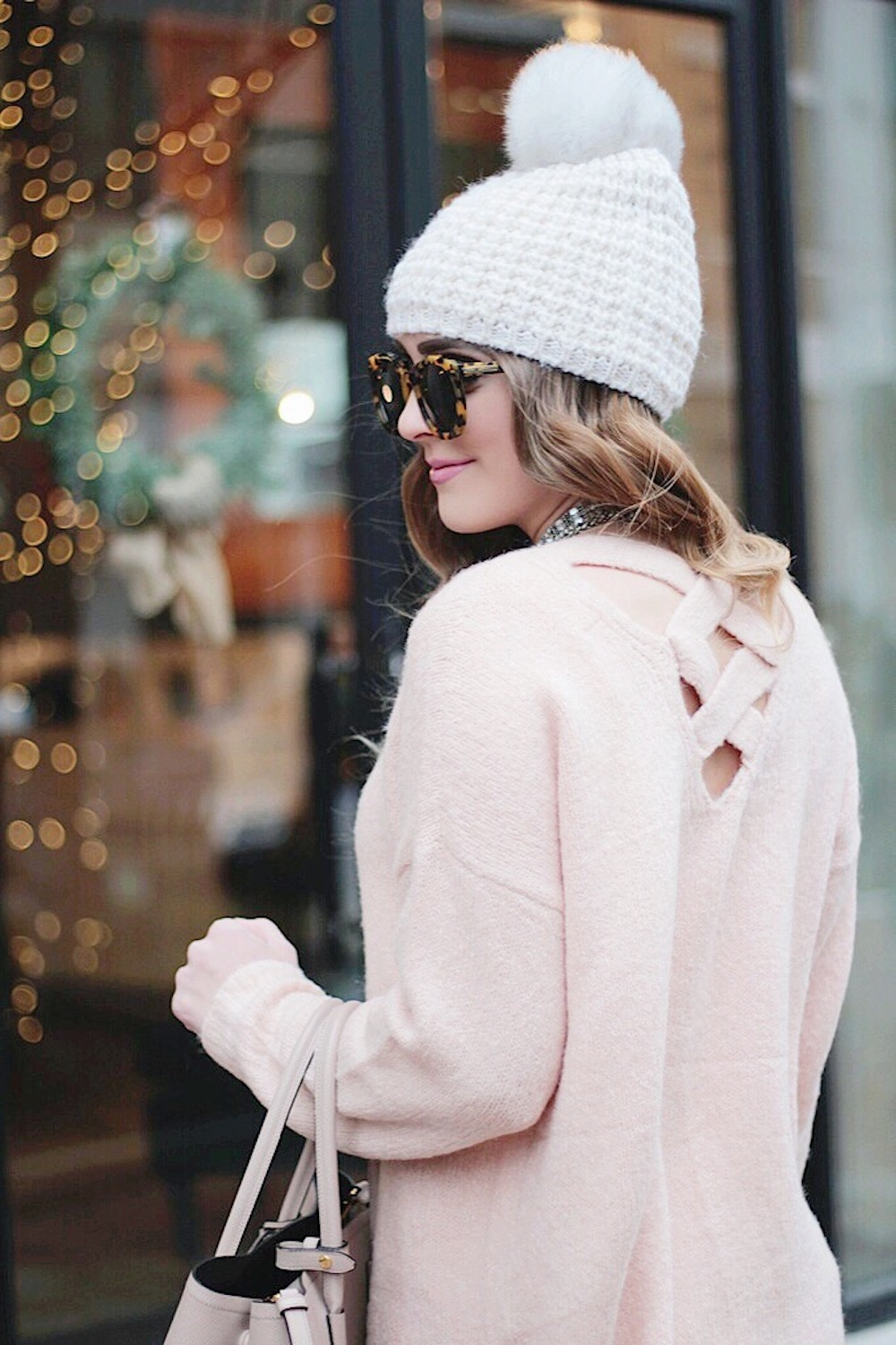 pink cross back sweater rachel puccetti between two coasts