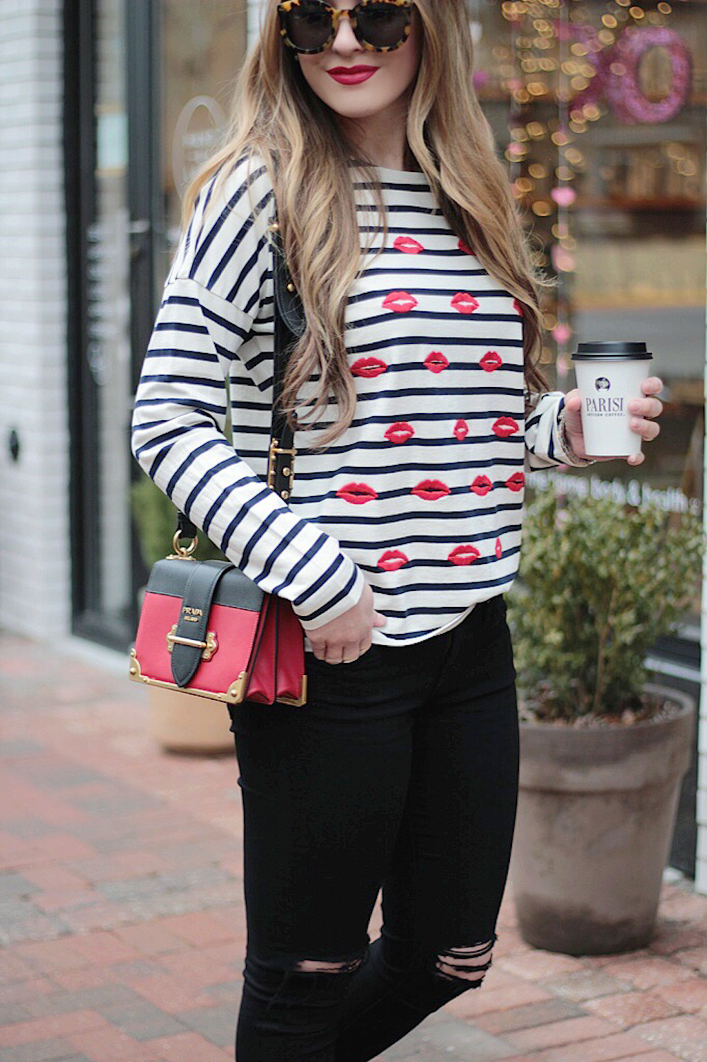striped tee and denim rachel puccetti between two coasts