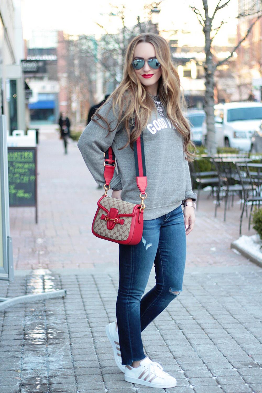 sweatshirt and sneakers rachel puccetti