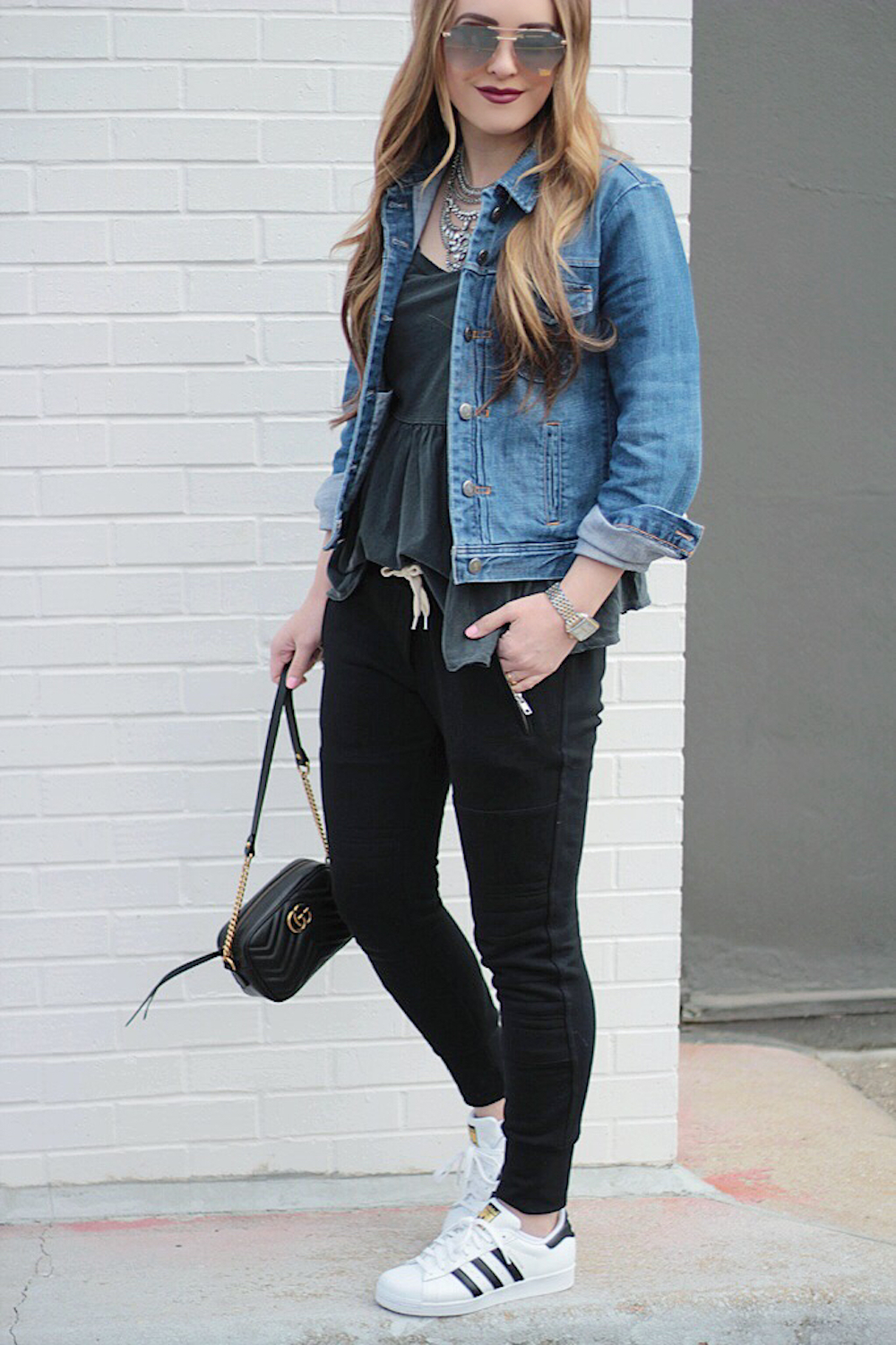 joggers and denim jacket rachel puccetti between two coasts