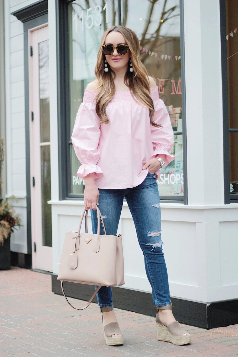 pink off the shoulder bow back top rachel puccetti between two coasts