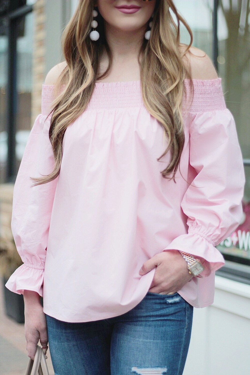 pink off the shoulder top rachel puccetti between two coasts