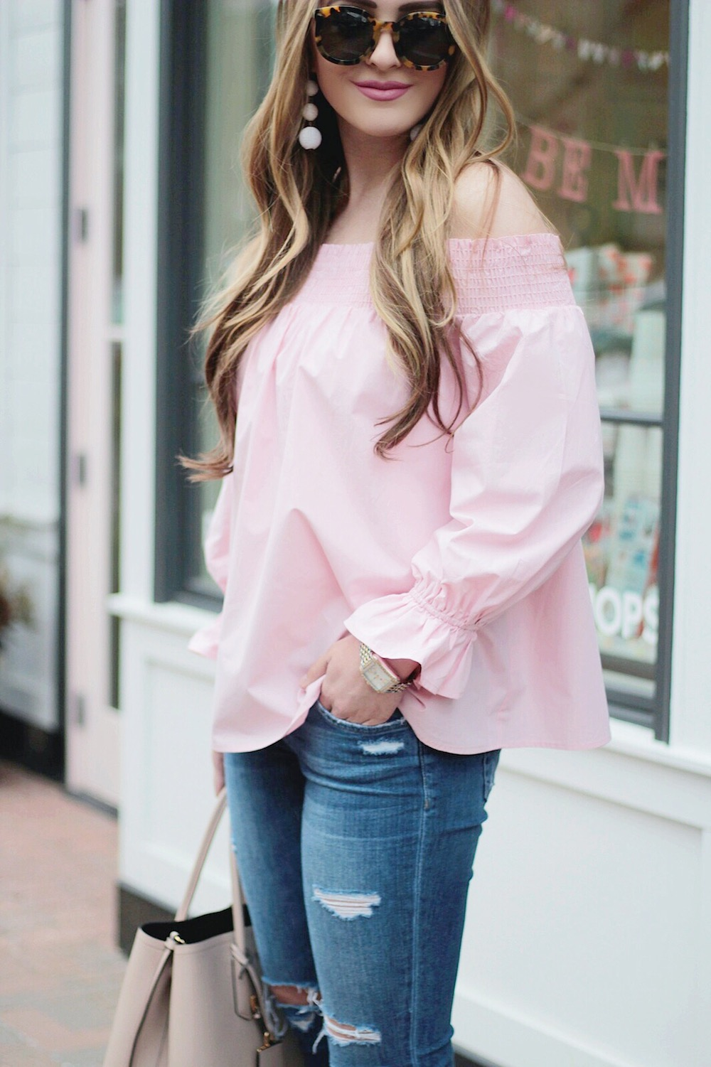 spring essentials pink off the shoulder top rachel puccetti