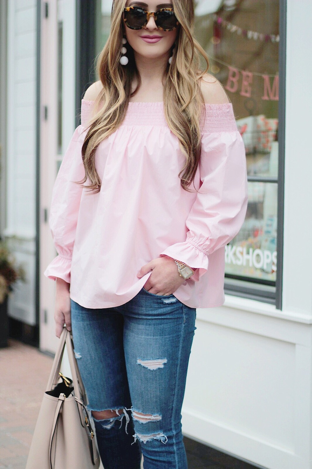 spring style pink off the shoulder top rachel puccetti