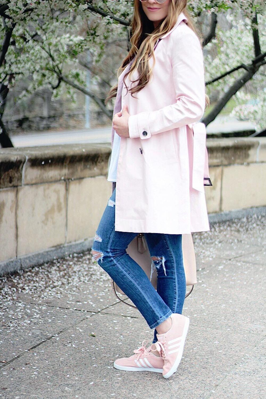 banana republic pink trench coat rachel puccetti
