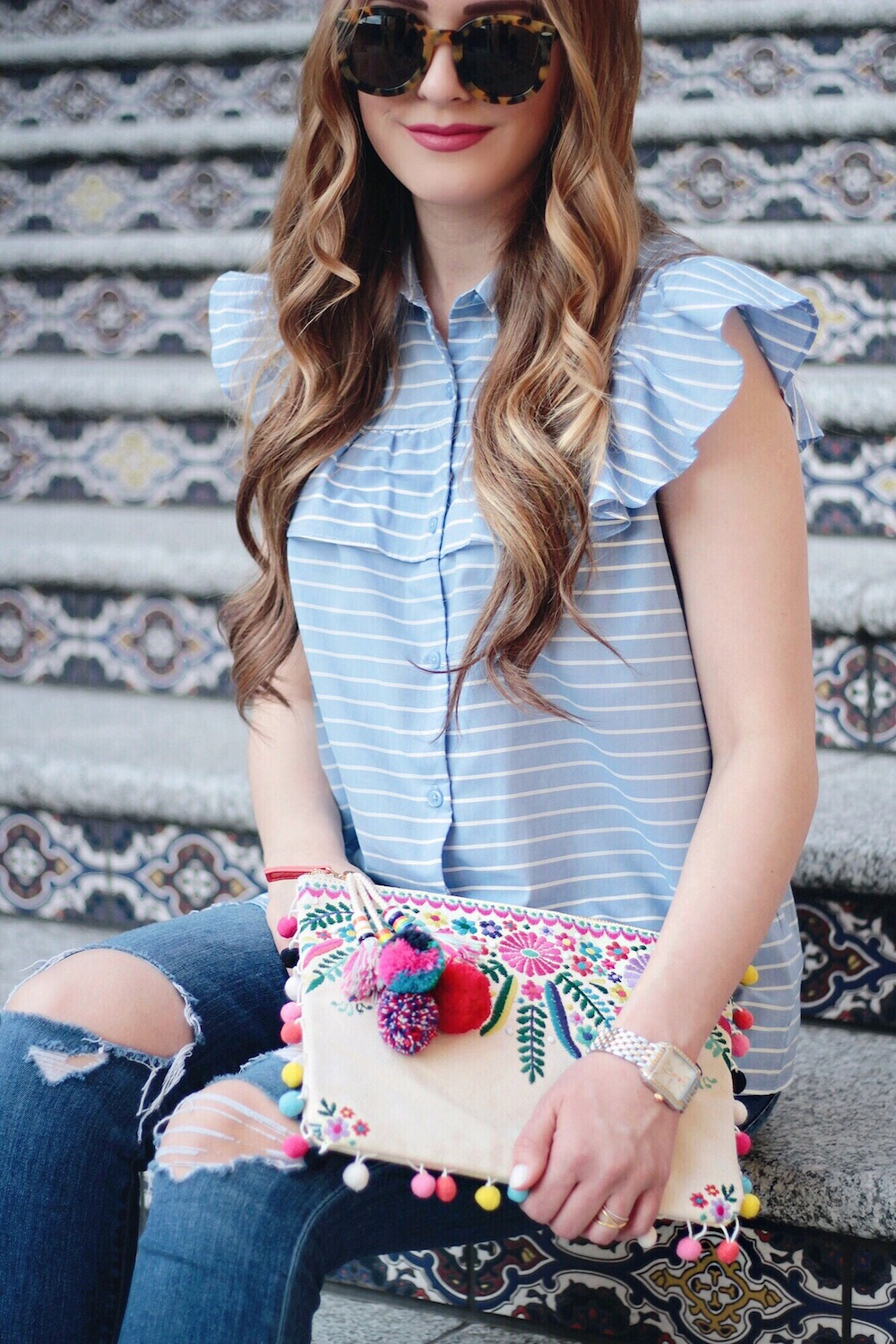 embroidered clutch fashion blogger rachel puccetti between two coasts