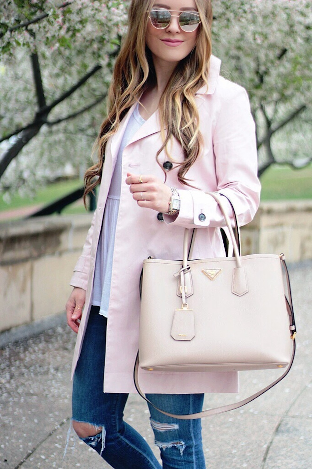 pink trench coat outfit ideas rachel puccetti between two coasts