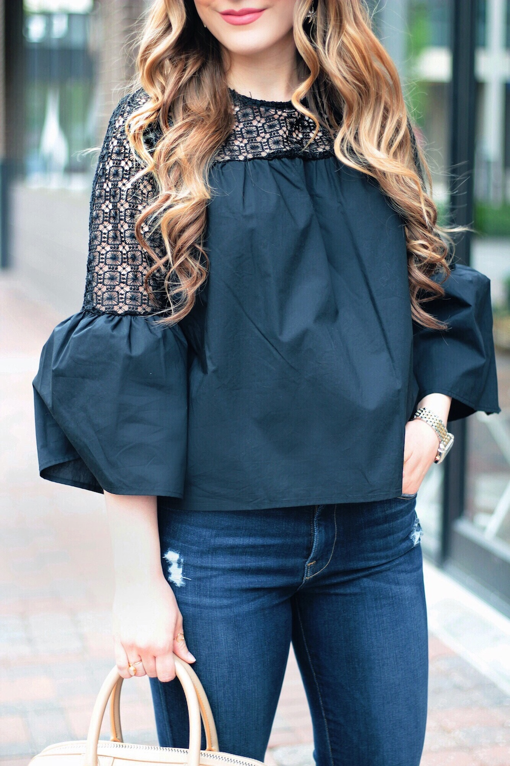 spring style lace bell sleeve top rachel puccetti