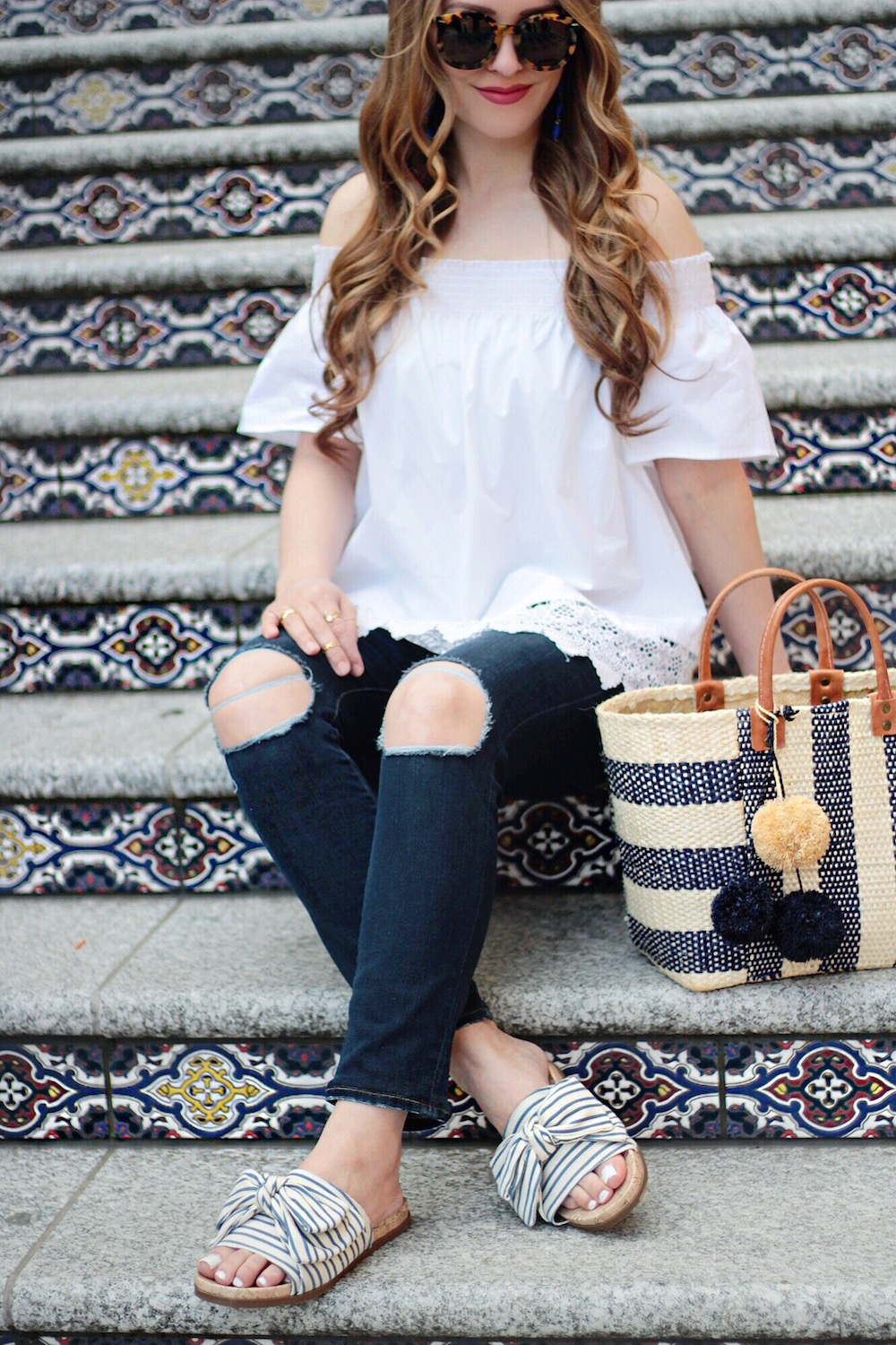 summer outfit ideas off the shoulder top rachel puccetti