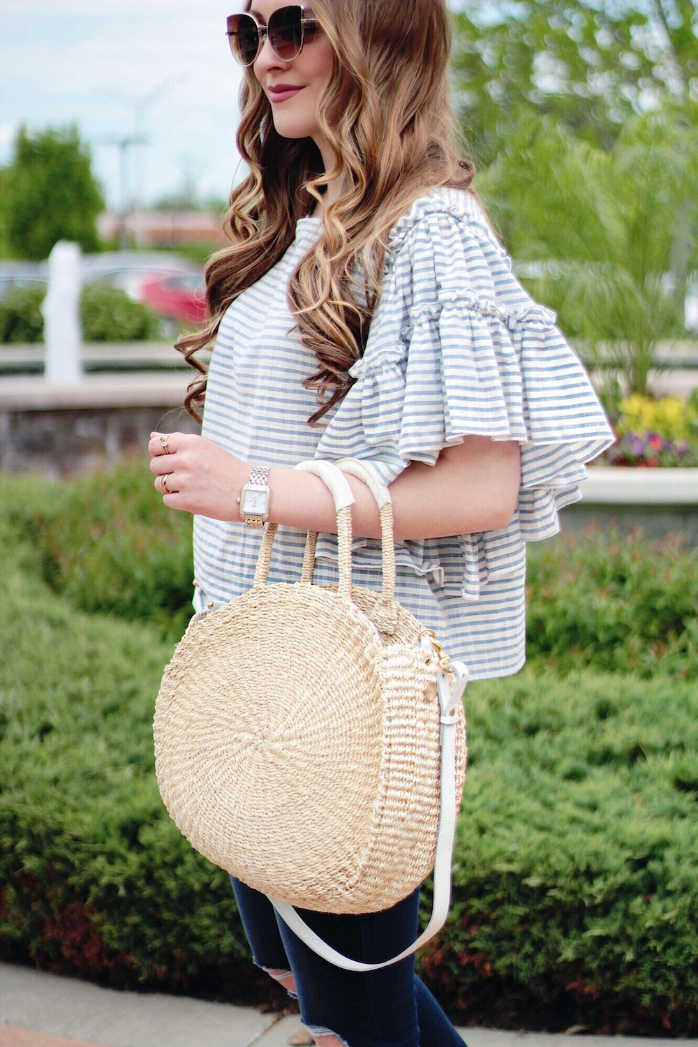 who what wear ruffle sleeve top rachel puccetti between two coasts