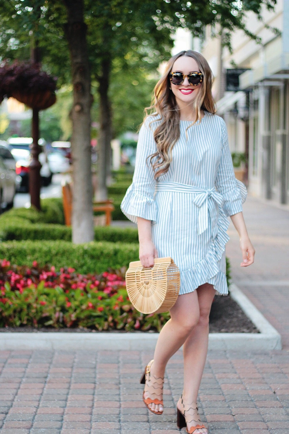 blue and white striped dress rachel puccetti