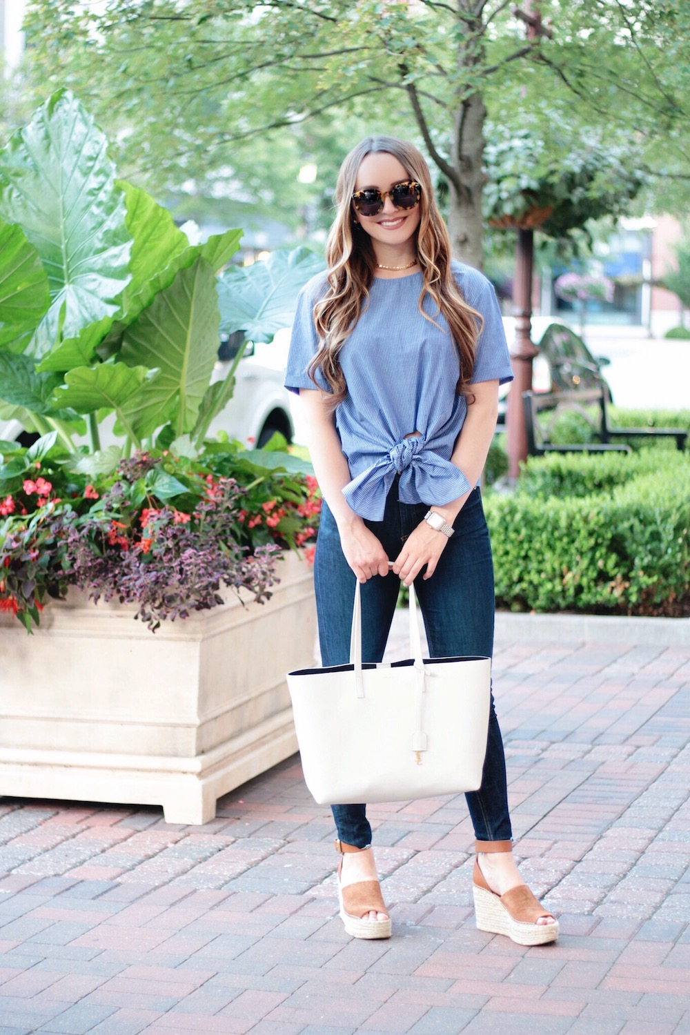 blue bow shirt rachel puccetti between two coasts