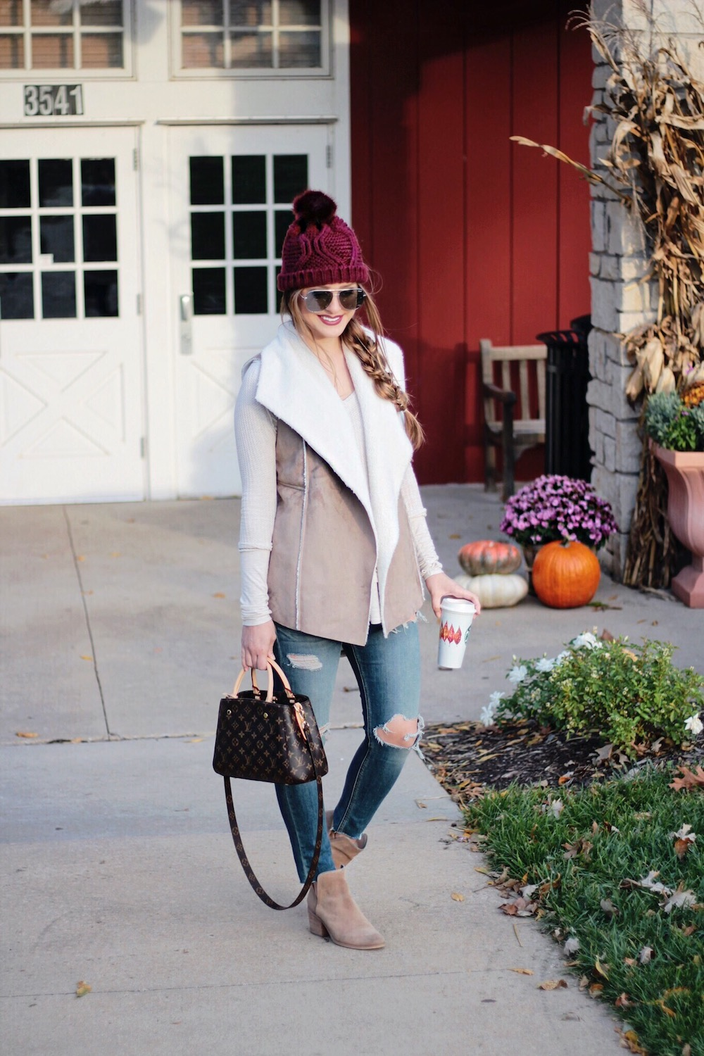 shearling vest fall outfit rachel puccetti between two coasts