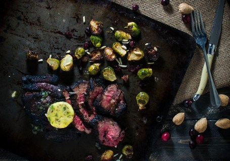 Steak with Garlic Bearnaise Butter Cran-Bacon Brussel Sprouts