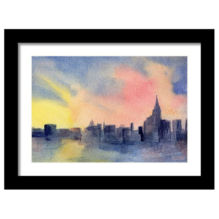 Abstract New York Skyline Sunset Painting - Canvas, Metal & Framed ...