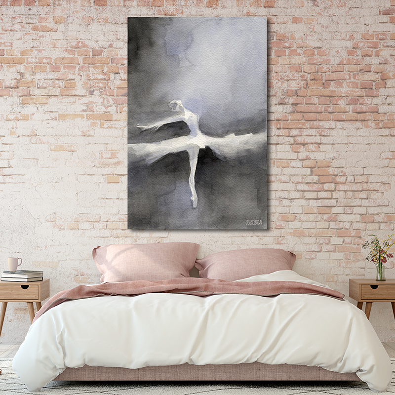 Black and White Ballet Dancer Painting Large 40 x 60 Canvas Wall Art Over the Bed & Abstract Black and White Ballet Dancer Painting - Classical ...