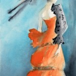 Woman in an Orange Evening Gown