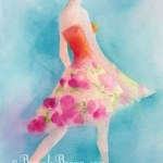 Woman in Pink Flowered Skirt