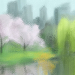 Digital Painting of Central Park in Spring