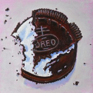 "Day 5. Beverly Shipko, ""Oreo Cookie - Anonymous"", Oil on panel, 6 x 6 inches."