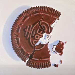 """Samantha's Bite - 2014 Oreo Cookie Contest Winner"", by Beverly Shipko, Oil on cradled panel, 8 x 8 inches."