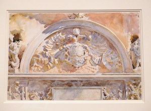 """""""Escutcheon of Charles V of Spain"""" by John Singer Sargent, 1912, Watercolor and graphite on white wove paper"""
