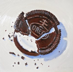 """Eva's Oreo Cookie in 3 Pieces"" by Beverly Shipko, Oil on cradled wood panel, 6 x 6 inches."