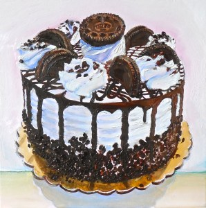 """Cake Boss Oreo Cookie Painting"" by Beverly Shipko, Oil on cradled panel, 6 x 6 inches"