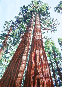 """""""Sequoia"""" by Beverly Shipko, Oil and acrylic on cradled wood panel, 7 x 5 inches"""