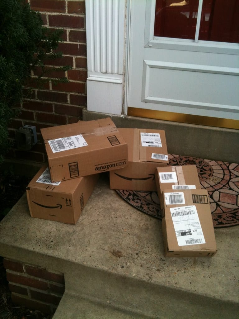 Pile of packages at the front door