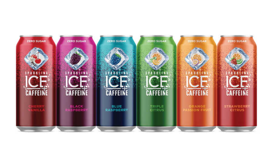 Sparkling Ice's packaging design for their new Sparkling Ice + Caffeine drink.