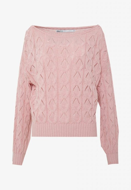Pull maille rose uni marque Only.