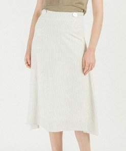 Jupe longue blanche à rayures marque artlove.