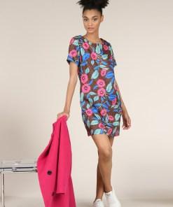 Robe courte avec petites manches. Motif coloré. Marque Lili Sidonio.