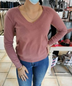 Pull 100% cachemire vieux rose.