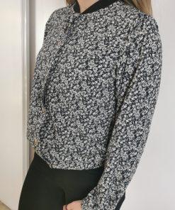 Veste style bombers femme noir et blanc marque le temps des cerises.