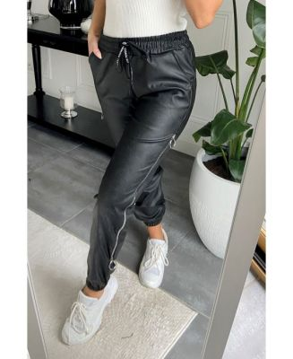 Pantalon simili noir style jog