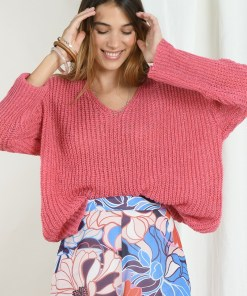 Pull rose fine maille coupe oversize marque Mollybracken.