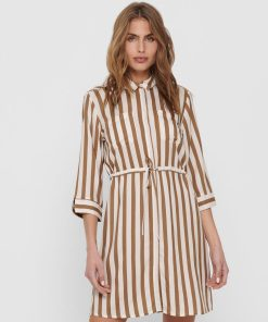 Robe chemise Only beige et rayures