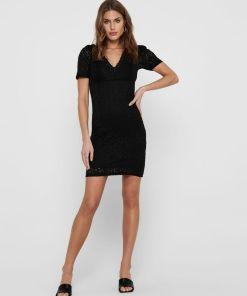 robe noire dentelle courte only