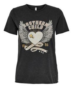 tee-shirt noir avec imprimé only