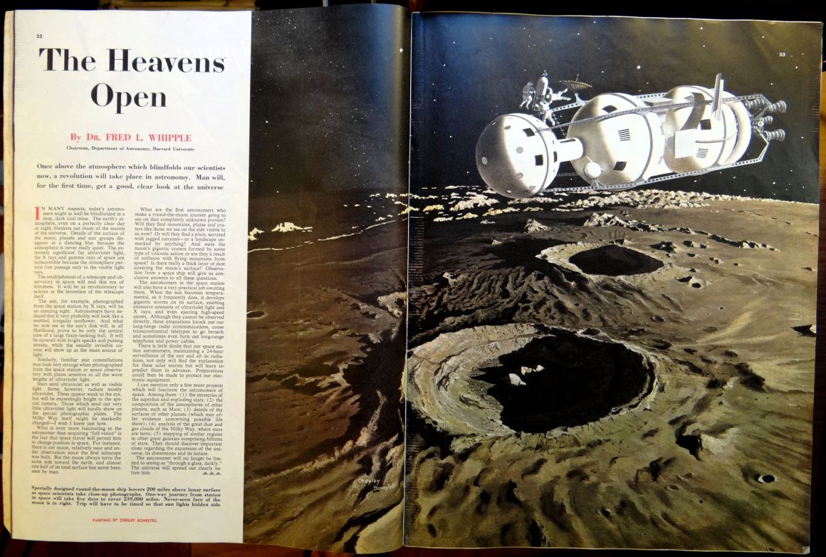 Collier's (March 22, 1952). Pages 32-34. Illustration by Chesley Bonestell