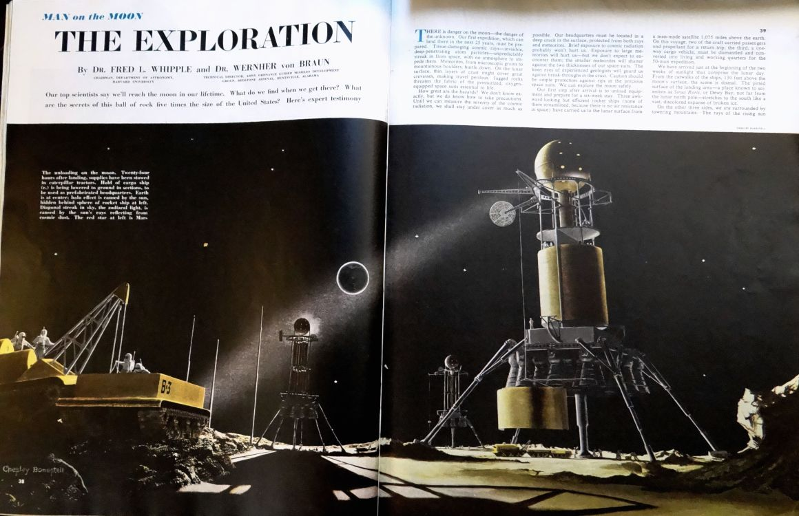"""""""Man on the Moon"""" by Chesley Bonestell in Collier's (Oct. 25, 1952)"""