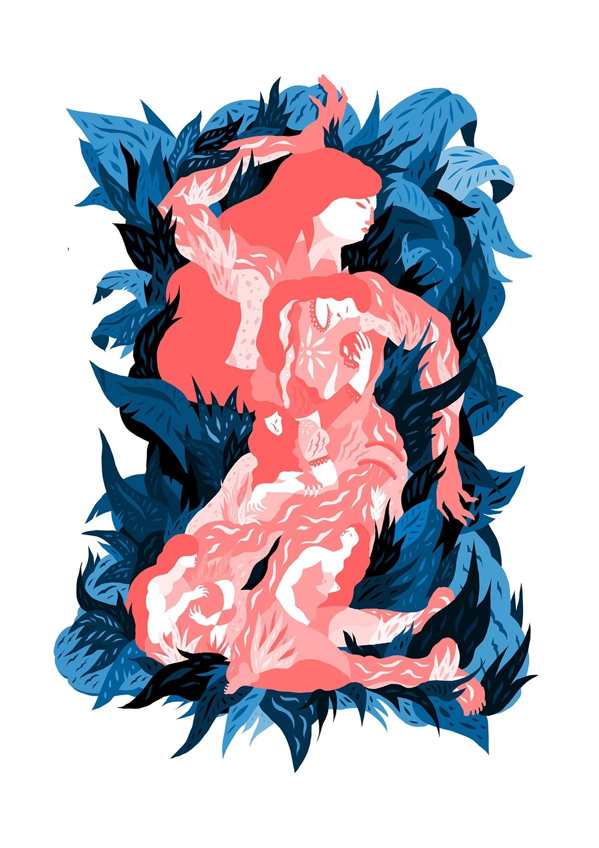 Dessin d'une femme allongée dans des feuilles, composée de plusieurs femmes