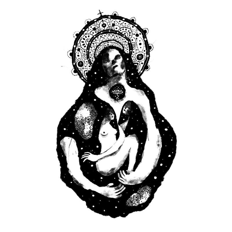 La Pietà, inspirée de l'oeuvre de Michel-Ange, réalisée à l'encre sur papier